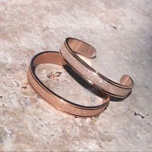 French Forged Rose Gold Love Cuff Bracelet Bangle